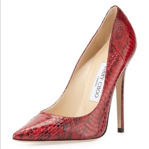 Jimmy Choo -Red Snakeskin Anouk Pointed-toe pumps